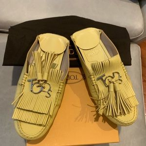 TODS Yellow Mules Sz 38